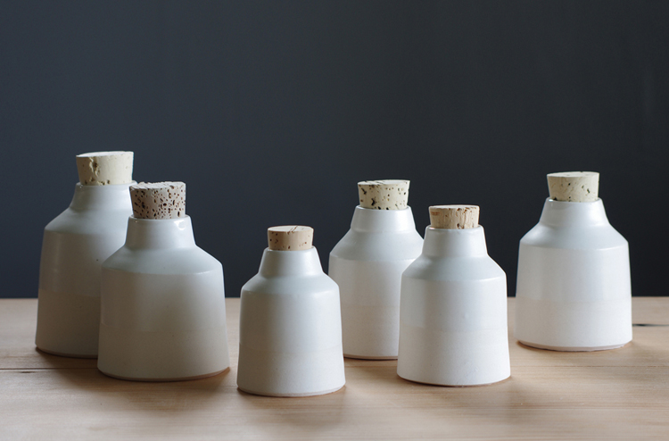 white porcelain bottles